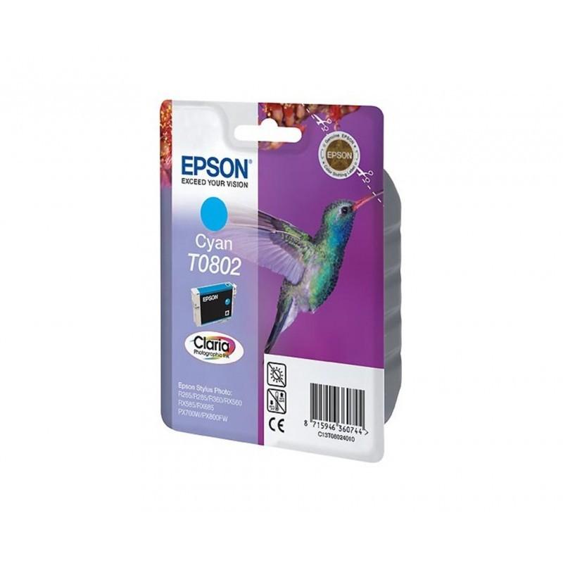 EPSON T0802 / COLOR CYAN / CARTUCHO DE TINTA ORIGINAL / C13T08024011